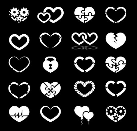 Heart icon set illustration on black background Stock Vector - 25462901