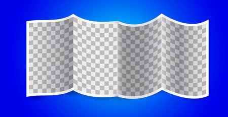 Folded transparency paper on blue background. Vector illustration Vector