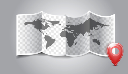 Folded world map with gps marks. Vector illustration Vector