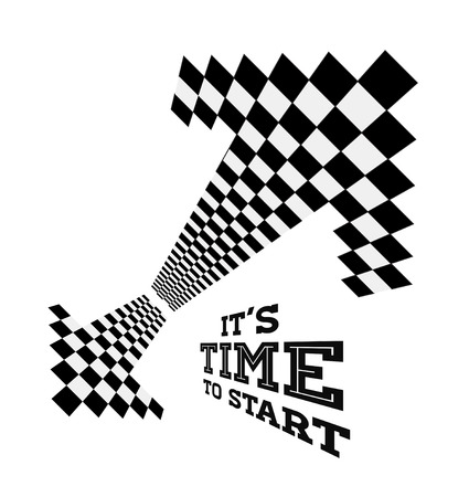 checker flag: Clock arrows in the form of checkered flag. Vector concept illustration