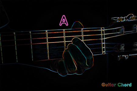chord: Guitar chord on a dark background, stylized illustration of an X-ray. A chord