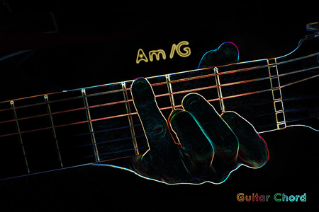 chord: Guitar chord on a dark background, stylized illustration of an X-ray. AmG chord Stock Photo