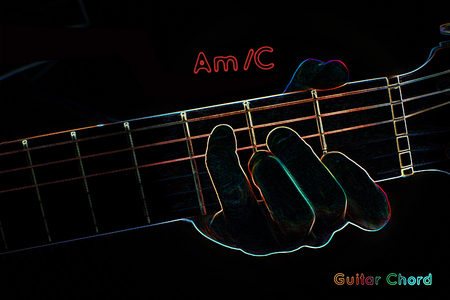 fingering: Guitar chord on a dark background, stylized illustration of an X-ray. AmC chord