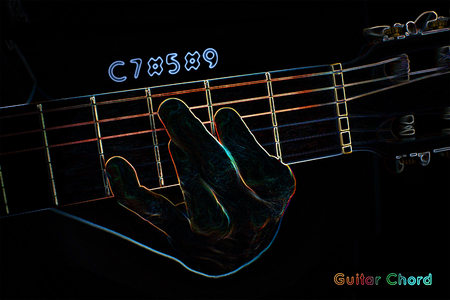 Guitar chord on a dark background, stylized illustration of an X-ray. C7#5#9 chord illustration