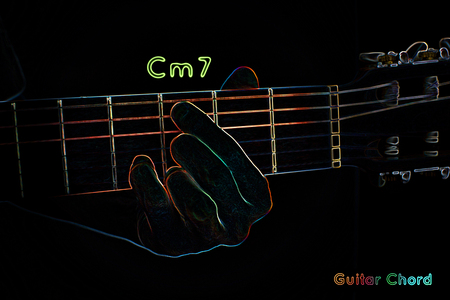 chord: Guitar chord on a dark background, stylized illustration of an X-ray. Cm7 chord Stock Photo