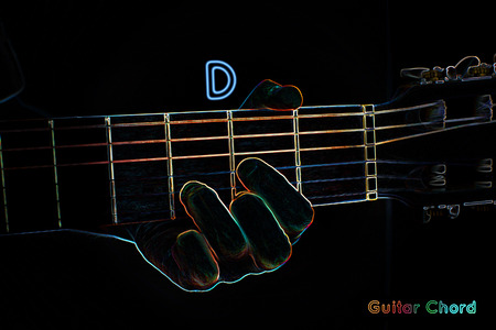 fingering: Guitar chord on a dark background, stylized illustration of an X-ray. D major chord
