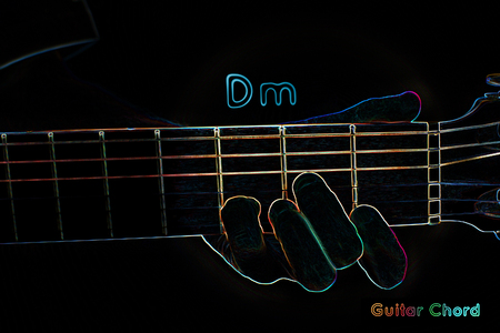 fingering: Guitar chord on a dark background, stylized illustration of an X-ray. Dm chord