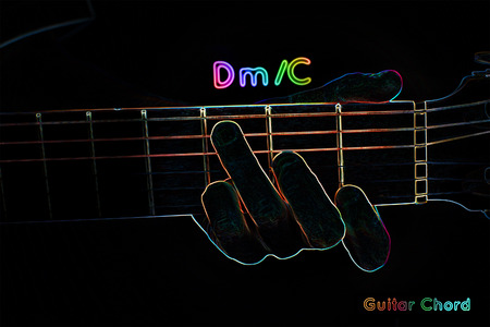 Guitar chord on a dark background, stylized illustration of an X-ray. DmC chord illustration