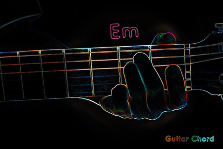 Guitar chord on a dark background, stylized illustration of an X-ray. Em chord