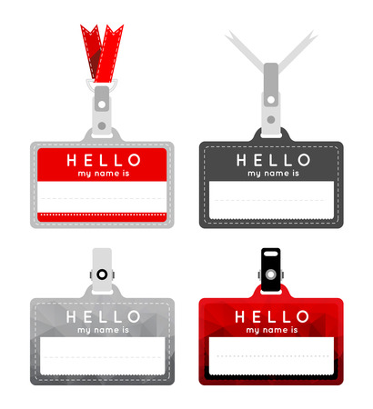name tags: Badges in the style of a flat design with a triangular background.