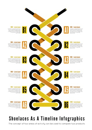 timing: Shoelace as a timeline infographic illsutartion. Vector Illustration