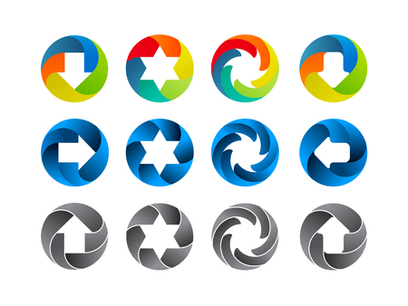 Abstract color icon set. Vector illustration on white background Vector