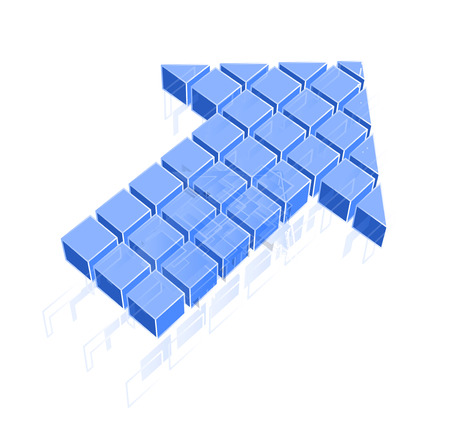 Arrow icon made of blue cubes isolated on white. Vector illustration Vector