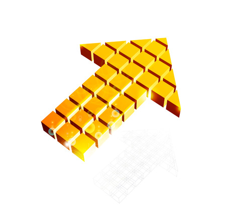 Arrow icon made of orange cubes isolated on white. Vector illustration Vector