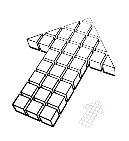 Arrow icon made of drawing cubes isolated on white. Vector illustration Vector