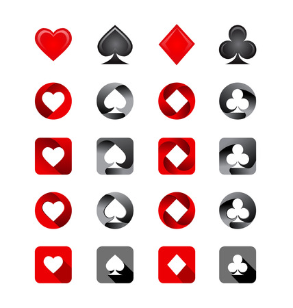 Vector Illustration of Playing Card Suits. Icons set on white background Vector