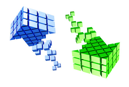 vanish: Arrow icon made of cubes isolated on white. Vector illustration