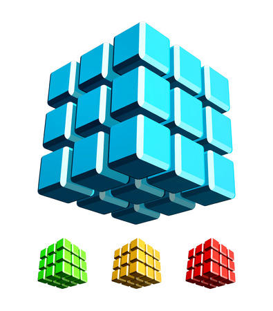 Cube 3d with fillet edge illustration color set Vector