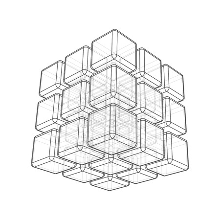 Cube 3d wireframe on white  Vector