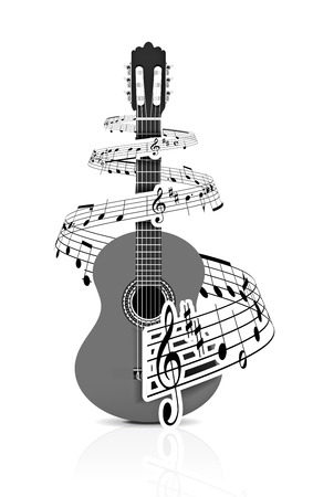 Music notes with guitar player for design use,  illustration Vector