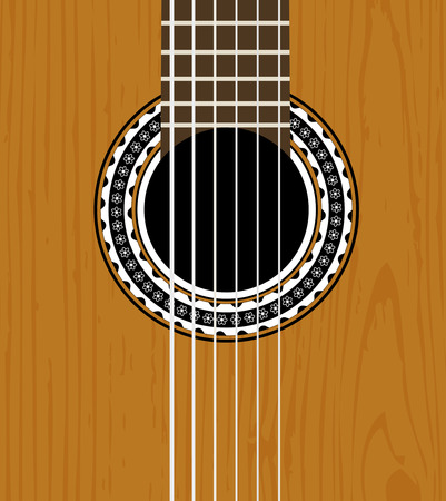 guitar sound hole with wooden texture Vector