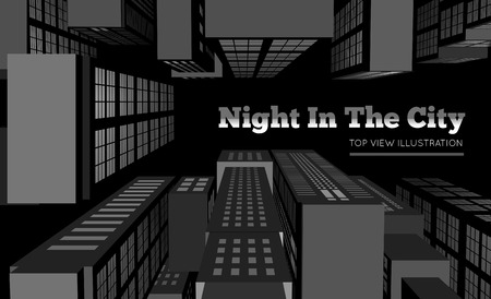 roof top: Night in the city  Top view vector illustration