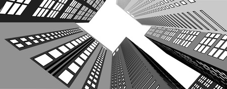 below: Skyscrapers in the city view from below  Vector illustration