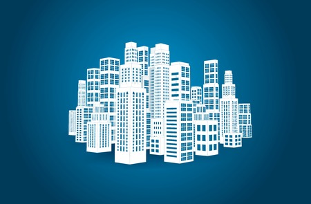 City with three-dimensional buildings and skyscrapers  Vector illustration on blue background Vector