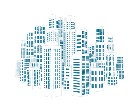 building sketch: City with three-dimensional buildings and skyscrapers  Vector illustration on white background Illustration