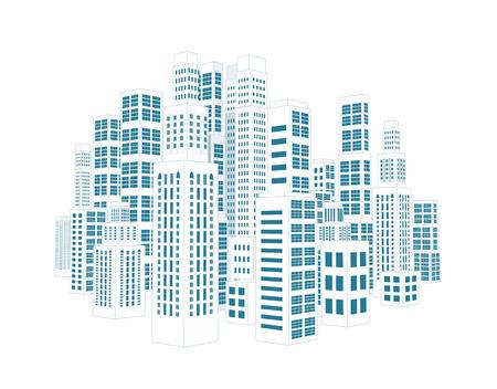 Stadt mit dreidimensionalen Gebäuden und Wolkenkratzern Vektor-Illustration auf weißem Hintergrund Vektorgrafik