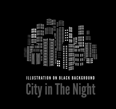 City with three-dimensional buildings and skyscrapers.  Vector illustration on black background Vector