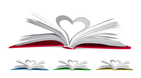 Heart from book pages  Vector illustration on white Vector