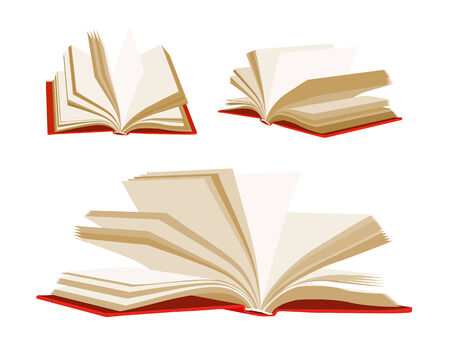 Open book isolated on white background  Vector set Vector