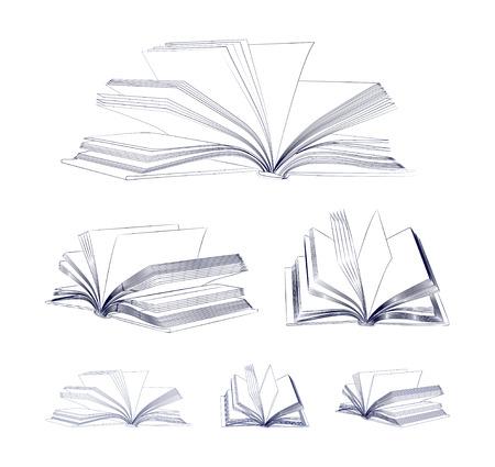 白い背景ベクトル イラスト上に分離されて開いた本スケッチ セット