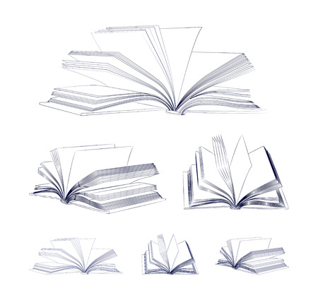 Open book sketch set isolated on white background  Vector illustration