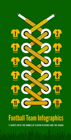 Shoelace as a football or soccer infographic illustartion  Vector