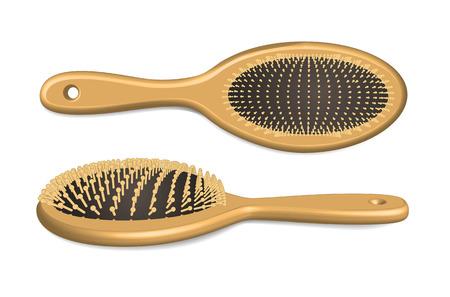 Wooden hairbrush isolated on white  Vector illustration Illustration
