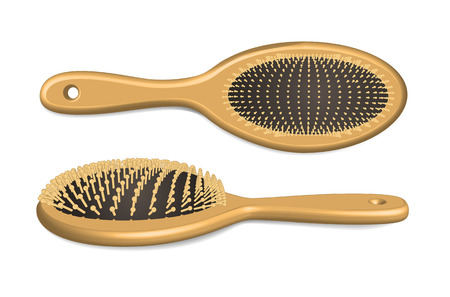 Wooden hairbrush isolated on white  Vector illustration Vector