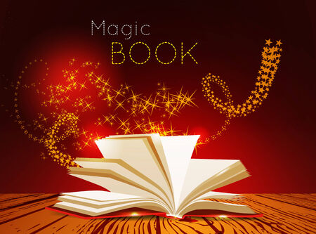 black magic: Opened book with magic light  Vector illustration Illustration