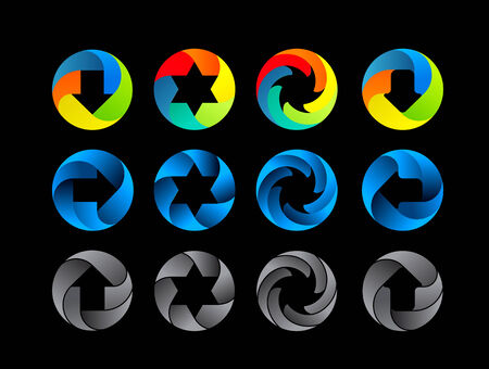 Abstract color icon set   Illustration on black background Vector