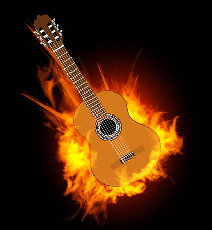 Acoustic guitar in fire flame   Vector illustration on black Vector