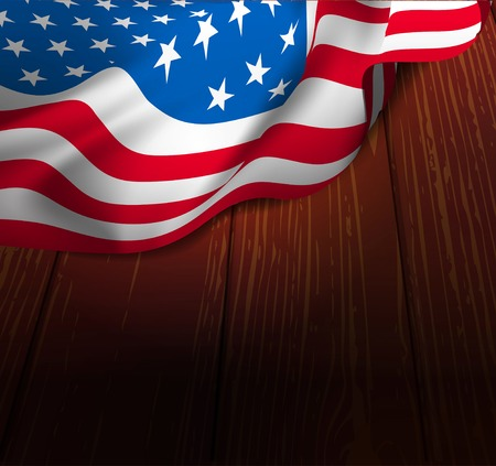 Flag USA on a wooden floor. Vector illustration Vector