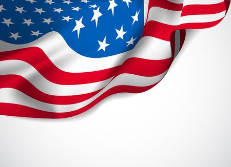 US-Flagge auf einem weißen Hintergrund. Vektor-Illustration