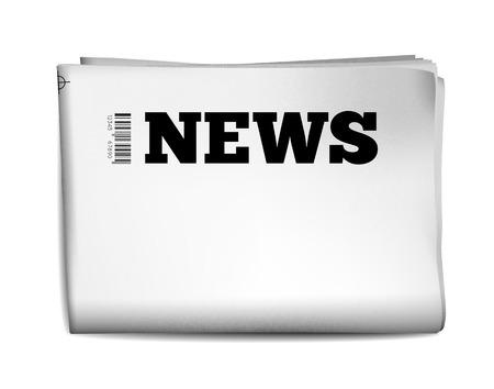 穴があいた端と白の背景にテクスチャを持つ空白の新聞。ベクトル イラスト