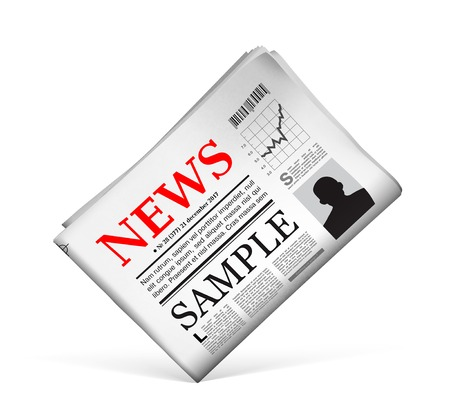 newspaper headline: Blank newspaper with perforated edges and texture on white background. Vector illustration