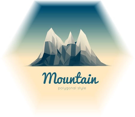 Beautiful mountain landscape. Low-poly style vector illustration Vector