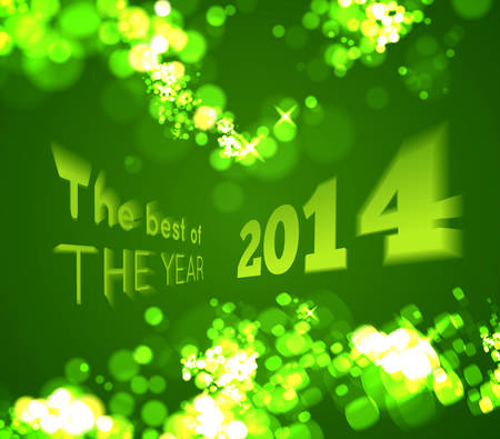 The best of the 2014 on green bokeh background. Vector illustration Vector