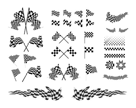 Checkered Flags and ribbons set vector illustration on white background. Ilustração