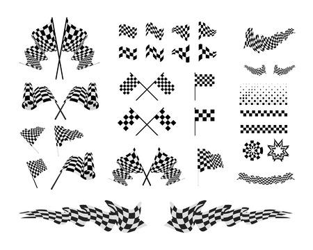 Checkered Flags und Farbbänder einstellen Vektor-Illustration auf weißem Hintergrund.