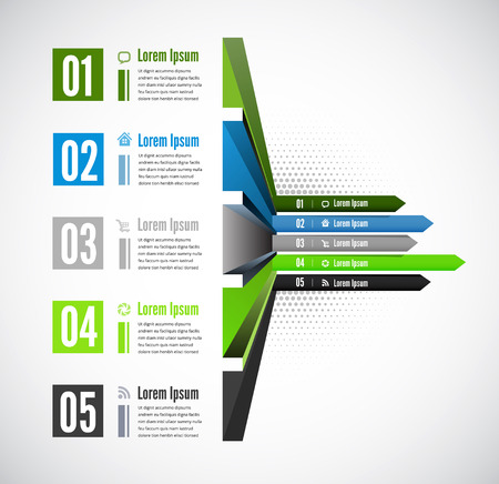 Vector 3d line arrow business concepts with icons Vector